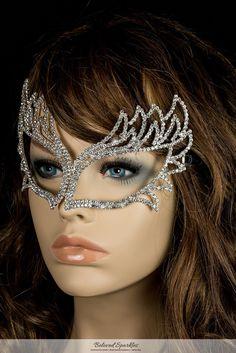 Shawna Fierce Silver Masquerade Mask | Crystal - Beloved Sparkles  - 3