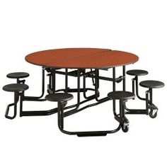 60 Round Table with Black Frame and 8 Seats - 44522 and more Office Tables