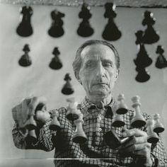 Marcel Duchamp, playing chess on a sheet of glass, 1958, by Arnold T. Rosenberg