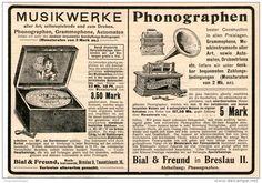 Original-Werbung/Inserat/ Anzeige 1902  : MUSIKWERKE / GRAMMOPHONE / BIAL & FREUND BRESLAU ca. 190 x 130 mm