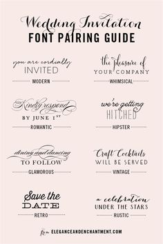 Image from http://www.eleganceandenchantment.com/wp-content/uploads/2015/02/Elegance-and-Enchantment-Wedding-Font-Pairings3.png.