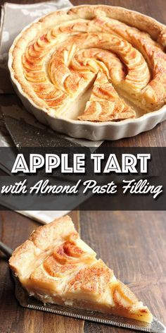 Apple Tart with Almond Paste Filling - Wild Wild Whisk - - This Apple Tart has a hidden layer of delicious homemade almond paste underneath the apples. It is a wonderful dessert for Fall and will for sure be a hit at any of your holiday dinner parties. Almond Tart Recipe, Almond Recipes, Apple Recipes, Baking Recipes, Apple Tart Recipe Easy, Köstliche Desserts, Delicious Desserts, Dessert Recipes, Quiches