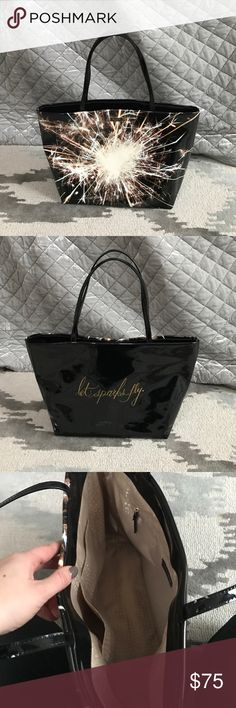"Kate Spade tote The perfect tote for NYE and 4th of July! Fireworks 💥 on front and ""let sparks fly"" on back. Slight scuffing on back but otherwise in perfect condition. kate spade Bags Totes"
