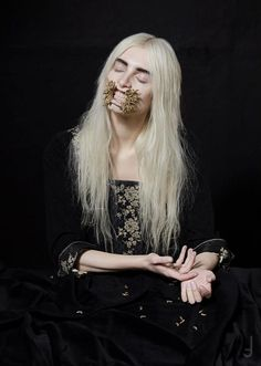 Lara Jensen 'Vanitas' SS13  Gold maggot mouth piece by Lara Jensen  Photography by Philip Meech Styling by Hope Von Joel ૐ Art Direction by Hope Von Joel and Lara Jensen Hair by Kota Suizu Makeup by Nat van Zee Model Mary @ Select