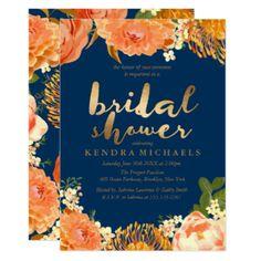 Gold & Orange floral Bridal Shower Invitation