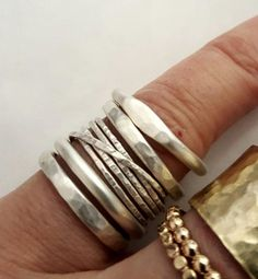 Vijf zilveren ringen ringen Set handgemaakte door VenexiaJewelry