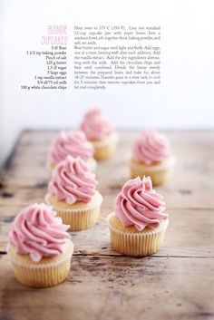 Blondie cupcakes with raspberry buttercream