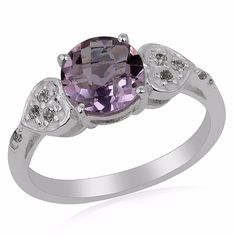 Pink Amethyst White Topaz 925 Sterling Silver Women Ring Valentine Gift Jewelry #Unbranded #SolitairewithAccents #ValentinesDay