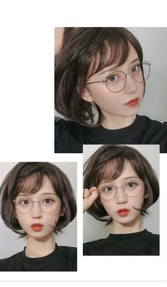 Ulzzang Short Hair, Ulzzang Girl, Short Hair Glasses, Putting On Makeup, Cute Korean Girl, Cute Girl Face, Girl Short Hair, Womens Glasses, Girl Poses