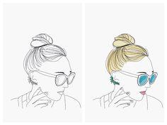 messy bun girl illustration