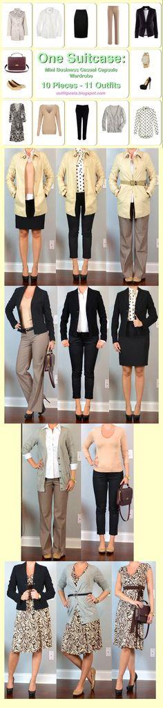 Outfit Mensajes: una maleta: mini negocios informales cápsula armario