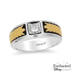#ZALES - #Zales Enchanted Disney Men's 1/5 CT. Princess-Cut Diamond Solitaire Crown Band in 14K Two-Tone Gold at Zales - AdoreWe.com
