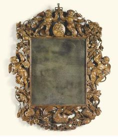 Charles II beautifully carved lime wood mirror.