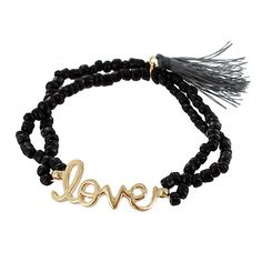 """Seed Beads Stretch Bracelet with Tassel - \""""Love\""""  $2.75"""