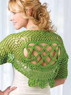 Free Crochet Pattern Download -- This Kerry Shrug, design by Jennifer E. Ryan, is featured in episode 2, season 4 of Knit and Crochet Now! TV. Learn more here: https://www.anniescatalog.com/knitandcrochetnow/patterns/detail.html?pattern_id=49