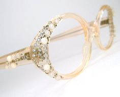 Vintage 60s Peach Cat Eye Glasses Eyeglasses  Sunglasses Frame With Rhinestones and Pearls