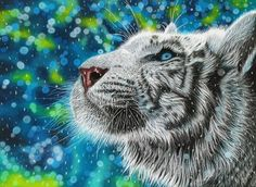 """Original pastel painting of a beautiful and magical white tiger! Titled """"Simple Joys"""", it would make the perfect gift for any big cat lover! Tiger Face, Surrealism Painting, Water Droplets, Pastel Drawing, Original Artwork, Fine Art Prints, Beautiful, Simple, Pastel Paintings"""