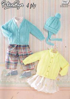 Peter Pan 807 baby cardigan vintage knitting pattern by Ellisadine, £1.00