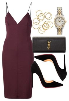 """Style #11520"" by vany-alvarado ❤ liked on Polyvore featuring T By Alexander Wang, Christian Louboutin, Yves Saint Laurent and Rolex"