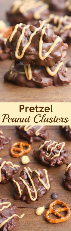 Clusters These delicious, no-bake, chocolate Pretzel Peanut Clusters take just minutes to make and are the perfect bite-size treat!These delicious, no-bake, chocolate Pretzel Peanut Clusters take just minutes to make and are the perfect bite-size treat! Candy Recipes, Cookie Recipes, Sweet Recipes, Dessert Recipes, Oreo Dessert, Pretzel Recipes, Baking Recipes, Dinner Recipes, No Bake Treats