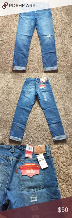 NWT Levi's boyfriend jeans BRAND NEW W TAGS, NEVER WORN!! Boyfriend Jean style, originally $70!! A little bit of Distressing on the knee and pocket, just didn't fit and didn't return in time! I'm 5'8 and they hit just above the ankle for a length reference. Waist size 29 Inseam size 34 Levi's Jeans Boyfriend