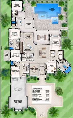 Mediterranean Dream Home Plan with 2 Master Suites Florida Mediterranean Spanish Luxury Floor Master Suite Butler Walkin Pantry CAD Available DenOfficeLibra. The Plan, How To Plan, Dream House Plans, House Floor Plans, House Design Plans, One Level House Plans, Master Suite, Master Bedroom, Bedroom Closets