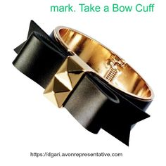 Take a Bow Cuff - Isn't this sweet? Real leather bow with shiny goldtone metal cuff. Get yours now and/or get one for a friend! $28 https://www.avon.com/product/mark-take-a-bow-cuff-55115?rep=dgari #avon #bow #cuff #leather #metal #gift #jewelry #fashion