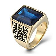 Men's Fashion 316L Titanium Steel Gold Plated Vintage Personality Engraved Gem Statement Rings Casual/Daily 1pc Christmas Gifts – NOK kr. 137