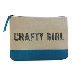 Every Crafty Girl will love this canvas zipper pouch this holiday season.  Great gift under $10