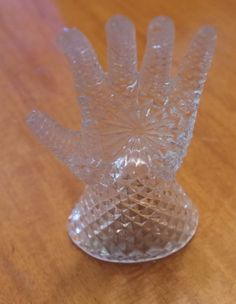 Vintage Lead Crystal Glass Hand Ring Holder by retrowarehouse