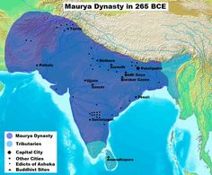 Maurya Dynasty Territory [ in purple ] in 265 BCE. Maurya Empire at the age of King Ashoka. The empire stretched from Afghanistan to Bangladesh/Assam and from Central Asia ( Afghanistan ) to Tamil Nadu/South India. The map shows major ciies, early Buddhis Ancient Indian History, History Of India, Asian History, Modern History, World History, Art History, Ancient Map, Tudor History, British History