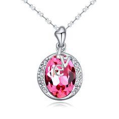 [$8.67] Austrian Crystal Necklace --LOVE (Rose 1-1274)