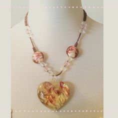 Necklace Blown glass heart pendant on a strand of beads. Beautiful necklace! Jewelry Necklaces