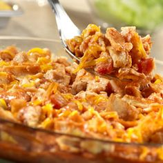 Crisp tortilla pieces are layered with a mixture of Campbell's® Condensed Tomato Soup, salsa, cooked chicken and Cheddar cheese, and baked until golden and bubbly in this quick and easy dish.