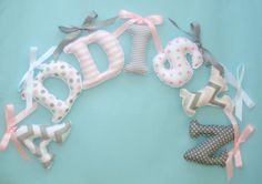 7 Hanging Letter/s Pink gray white fabric letters