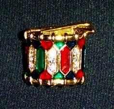 1057~Vintage Goldtone Clear Rhinestone Green Red Enamel Figural Drum Brooch Pin*
