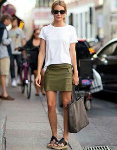 http://www.taaora.fr/blog/wp-content/uploads/2016/04/idee-look-printemps-ete-jupe-kaki-top-blanc-basique-sac-besace-marron-sandales-580x746.jpg