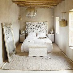 India-Inspired Monochromatic White Color and pattern Interiors and Bedrooms Guest room?