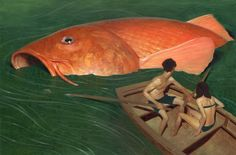 red-lipstick: Jeremy Enecio (b. 1986, Ormoc City, Philippines, USA based) - Koi Paintings: Acrylics, Oil on Board
