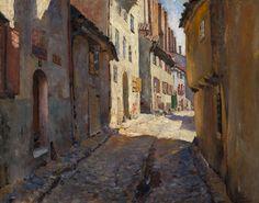 The Athenaeum - Narrow Street in Riga (Sergei Arsenevich Vinogradov - )