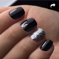 black-nails-cool-ideas-silver-glitter-triangle Gel Nail Art Polish Trends Part five 2018 Nail Art Polish Trends Gel Nail Designs 2018 Gel Nail Art 2018 New Nail Designs, Black Nail Designs, Stiletto Nails, Toe Nails, Coffin Nails, Gel Nail Art, Nail Polish, Acrylic Nails, Gel Manicure