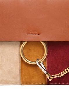 chloé - women - shoulder bags - medium faye leather & stripped suede bag