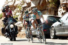 The last two riders in the break, Simon Clarke (Orica-GreenEdge) and Tony Martin (Omega Pharma-Quickstep) on the 13.4 km at 5.2% finishing climb