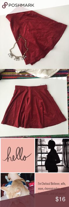 Velvety Burgundy Skater Skirt NWOT Beautiful skater skirt, perfect 90s style comeback. 🌻NWOT Perfect condition! It's a size large,  but it's a small large! A junior sized large I would say. Milkyway  Skirts Circle & Skater