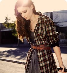 Kinda like this look...never been big on flannel shirts on girls but this with the belt and cami makes it seem more feminine. Too bad I can't pull off the belt look though. :(