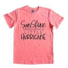 Kids sassy jumper hoodir tshirt sunshine mixed with a little hurricane 1-15 years
