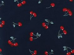 Buy Printed Cherry Cotton Poplin, Navy at Dalston Mill Fabrics
