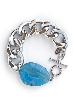 Chunky Silver Turquoise Bracelet <3