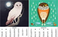 Printable 2014 owl calendar freebie - select 12 illustrations and download