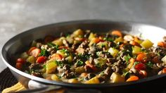 Progresso® beef-flavored broth provides a simple addition to this ground beef stew - perfect for a skillet dinner that can be made ready in just 30 minutes!